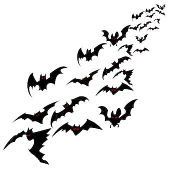Стая летучих мышей, изолированных на белом фоне. плоская иллюстрация для хэллоуина.