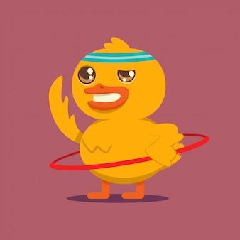 フラフープでエクササイズをしているかわいい赤ちゃんアヒル。背景に分離されたベクトル漫画鳥キャラクター。