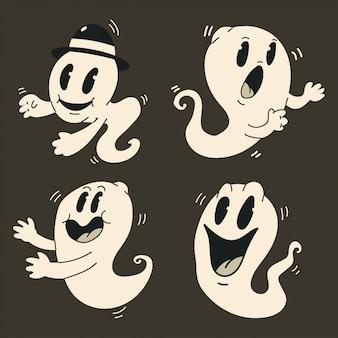 かわいい漫画の幽霊セット。ハロウィーン面白いビンテージキャラクターモンスターに分離されました。