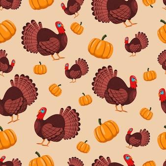 トルコの鳥とカボチャの休日の感謝祭のためのシームレスなパターン。壁紙、ラッピング、梱包、背景用の漫画。