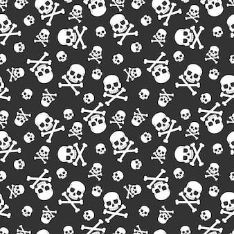 Череп и скрещенные кости бесшовный фон для праздника хэллоуин. для обоев, упаковки, упаковки и фона.