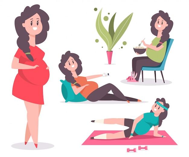 かわいい妊娠中の女性のキャラクターは、フィットネスに従事している、健康的な食べ物を食べる、枕の上にあります。白で隔離面白いお母さんの漫画セット。