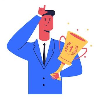 優勝カップを持ったビジネスマンは敗者の兆候を示しています。