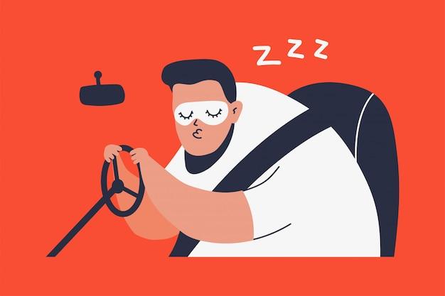 Спящий человек за рулем автомобиля