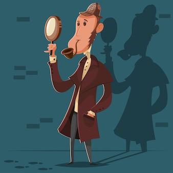 Детектив с курительной трубкой и увеличительным стеклом