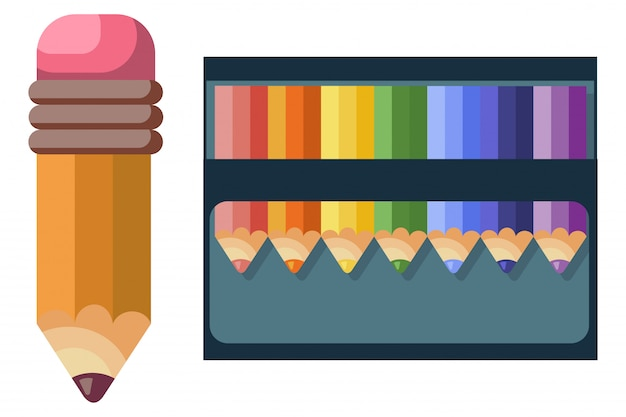 Цветные карандаши для школы и рисования на белом фоне