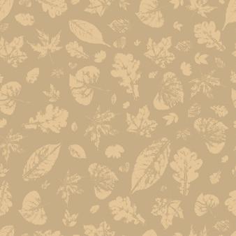秋のシルエットの葉のシームレスパターン