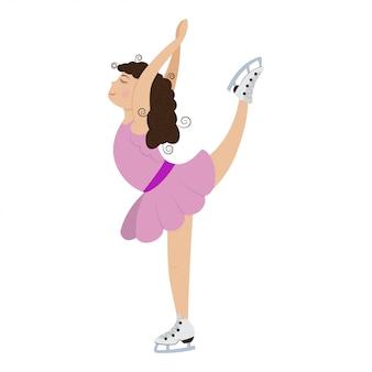 アイススケートの図にピンクのドレスでかわいい女の子