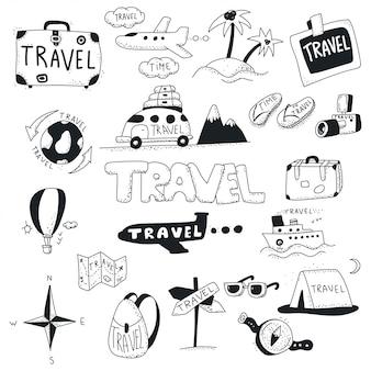 旅行落書きアイコンセット。
