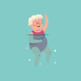 スイミングプールでアクアエアロビクス運動をしている老婦人