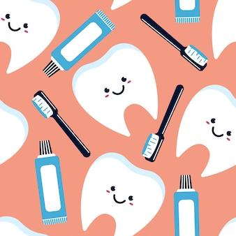 歯のキャラクター、歯磨き粉、歯ブラシのシームレスなパターン。