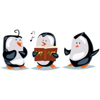 Мультяшные пингвины поют колядки на белом фоне