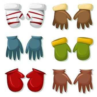 男性と女性用の冬用手袋とミトンセット