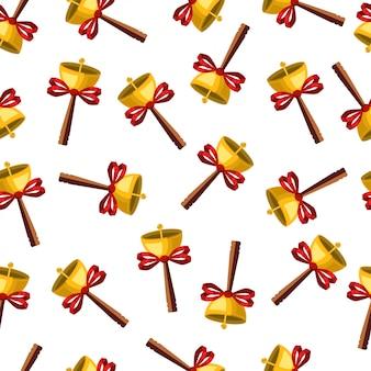 弓のシームレスなパターンを持つクリスマスゴールドの鐘。休日のベクトルの壁紙