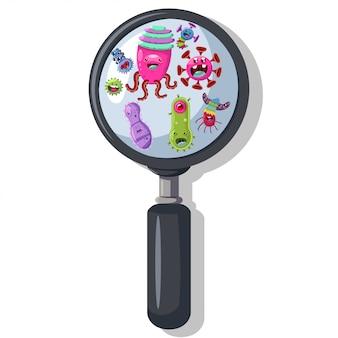 虫眼鏡の下の細菌、ウイルス、細菌。分離されたかわいいモンスター、微生物、病原体ベクトル漫画のキャラクター