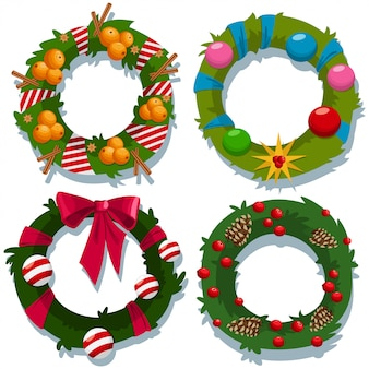Рождественский венок векторный мультфильм декоративный набор элементов праздника