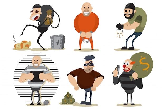 Вор, грабитель и гангстерский набор. уголовная иллюстрация с людьми в маске на месте преступления. векторные герои мультфильмов изолированные