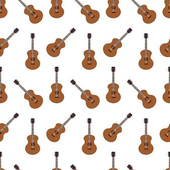 アコースティックギターのシームレスなパターンベクトル
