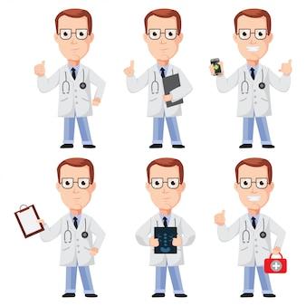 医師漫画キャラクターデザイン。ベクトルは、分離されたプレゼンテーションポーズで平らな人々を設定
