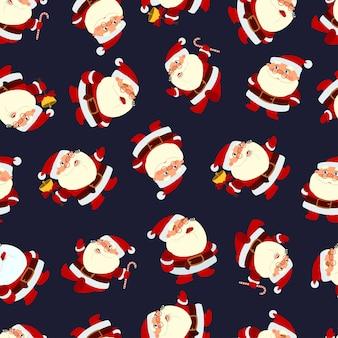 Санта-клаус бесшовный узор на темном фоне.