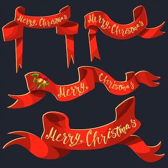Красная лента баннер с рождеством руки нарисовать текст.