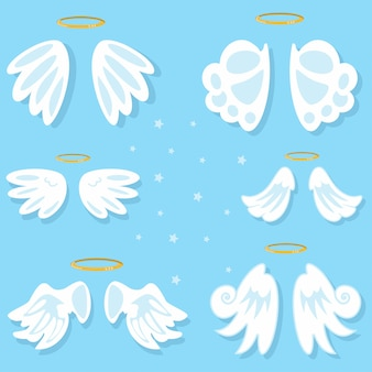 Крылья ангела установлены. мультфильм, изолированных на синем фоне.