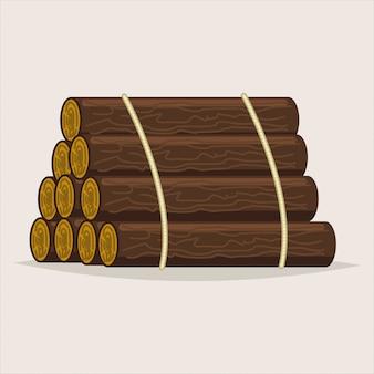 Бревна дерево. древесина мультяшный векторная иллюстрация изолированных