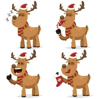 杖キャンディとギフト用の靴下とサンタクロースの帽子で面白いクリスマス鹿。分離された休日のデザインのかわいい鹿のベクトル漫画キャラクターセット
