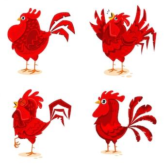 Красные петухи векторные персонажи мультфильмов набор изолированных