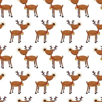 クリスマスのトナカイのシームレスパターン