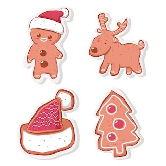 かわいいクリスマスジンジャーブレッドクッキーパック