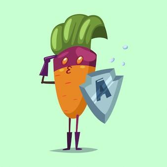 Милый морковный мультипликационный персонаж из овощей в костюме супергероя, маске и металлическом щите. векторная иллюстрация концепции для здорового питания и образа жизни.