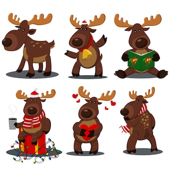 さまざまなポーズでかわいいクリスマスのトナカイ。ベクトル漫画鹿文字セット