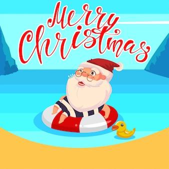 Летом дед мороз плывет в океане на надувном резиновом кольце. вектор милый мультипликационный персонаж. счастливого рождества рука рисовать текст.