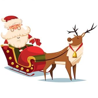 トナカイとギフト袋とそりでかわいいサンタクロース。ベクトルクリスマスイラスト。