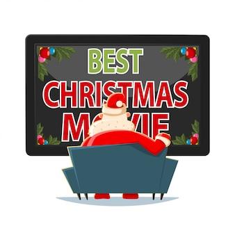 Лучшие рождественские фильмы векторные иллюстрации шаржа. дед мороз сидит на диване и смотрит телевизор.