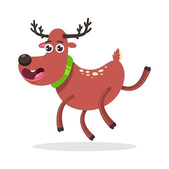 かわいいクリスマスのトナカイの漫画のキャラクター、白で隔離されます。
