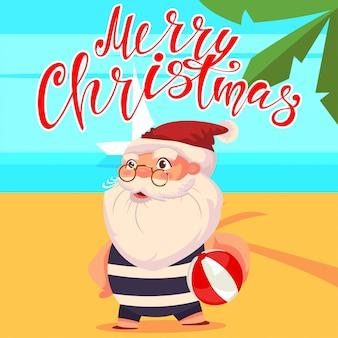 ビーチのかわいい漫画のキャラクターの夏サンタクロース。幸せなクリスマスの手描きのテキスト。