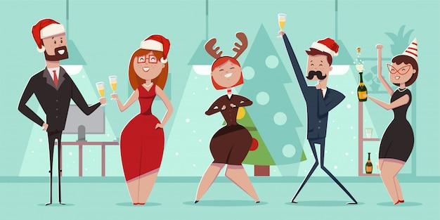 クリスマスオフィスパーティーの漫画の人々のキャラクター。