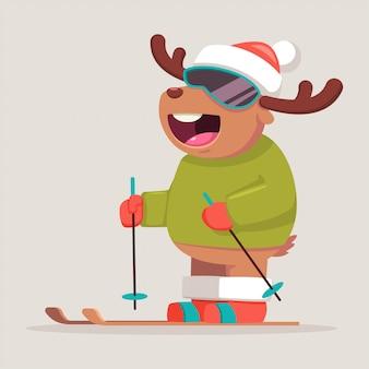 サンタの帽子でスキーかわいいトナカイの漫画のキャラクター。冬のスポーツと分離された面白い動物と活動のベクトルイラスト。