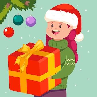サンタ帽子でクリスマスプレゼントとかわいい女の子。幸せな子供キャラクターとベクトル休日イラスト。