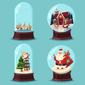 Рождественский снег глобус векторный мультфильм набор. стеклянный шар с санта-клауса, дерево, дети и дом изолированы.