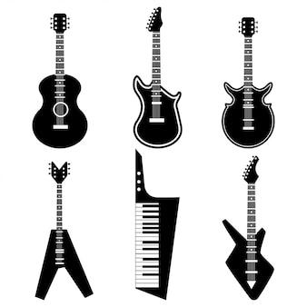 クラシックアコースティックとレトロなエレクトリックギターの黒いシルエット。