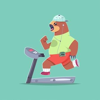 Милый ленивец мультипликационный персонаж делает упражнения на беговой дорожке.