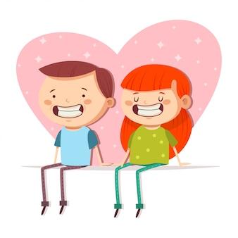 手を繋いでいる愛する若いかわいいカップル