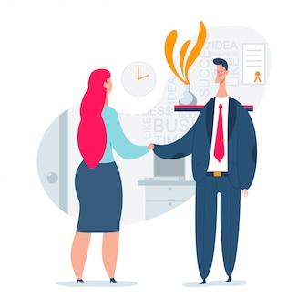 男と女の雇用インタビューの概念図。採用プロセスの人的資源。ビジネススタッフを雇うベクトルフラット文字。