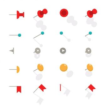 Канцелярская кнопка для карты. вектор плоский значок набор офисных канцелярских кнопок, изолированных