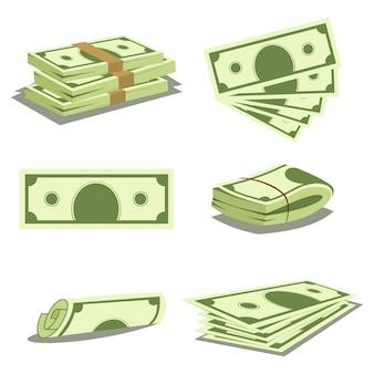 お金のスタックと現金の山。ドル紙幣のアイコン。分離された紙幣のベクトル漫画イラスト