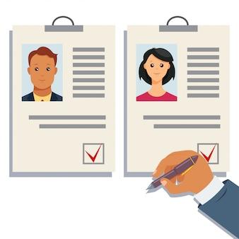 Анализ штатов резюме вектор. выбор работодателя. управление персоналом или кадровое агентство концепция имиджа. бизнес иллюстрация набирать процесс людских ресурсов.