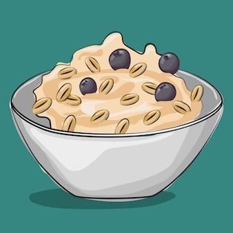 ブルーベリーとオートミール。伝統的な朝食。に分離された漫画食品イラスト。
